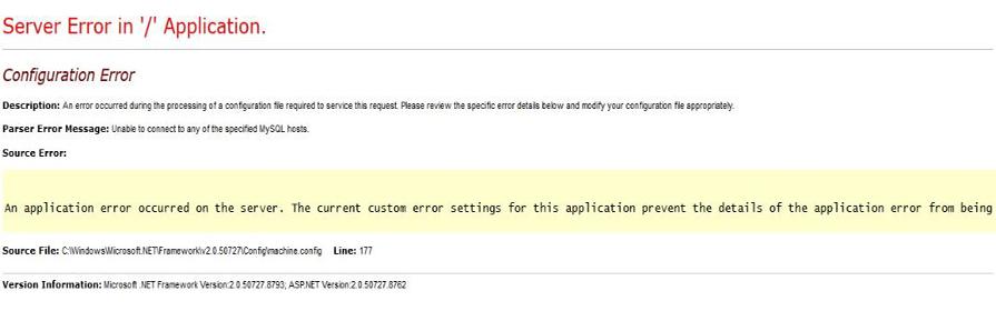 رفع خطا unable to connect to any of the specified MYSQL hosts