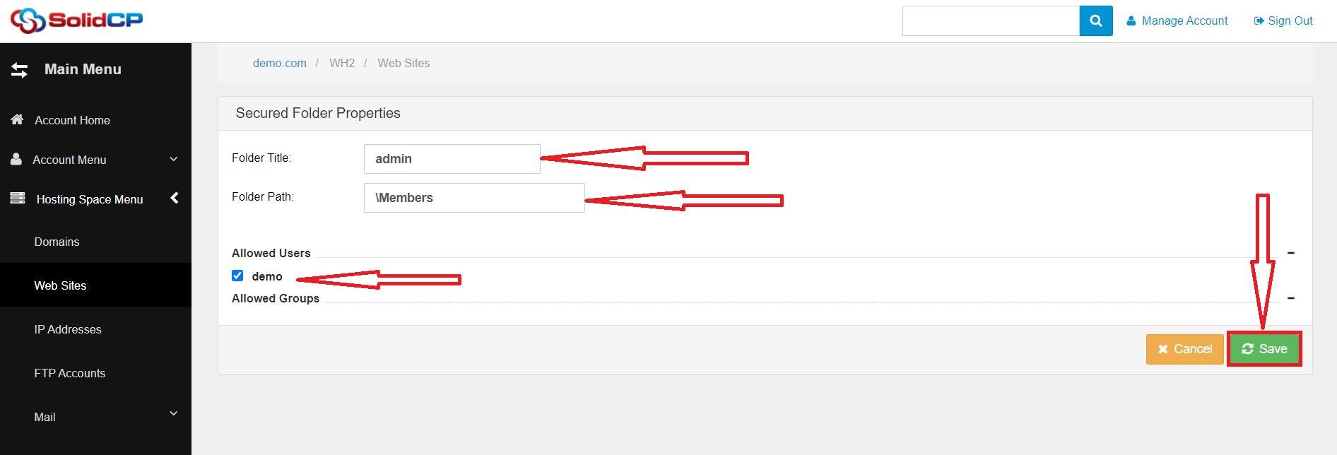 ایجاد Secured Folders در SolidCP هاست ویندوز