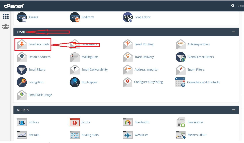 ایجاد ایمیل اکانت در سی پنل هاست لینوکس