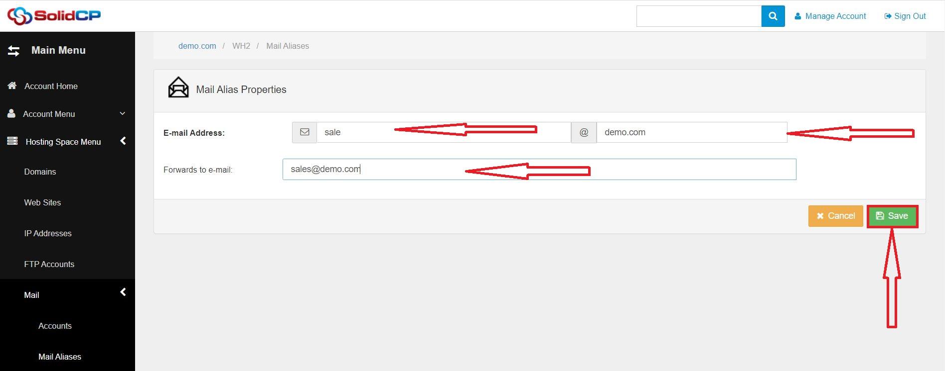 راهنمای ایجاد Mail Alias در SolidCP هاست ویندوز