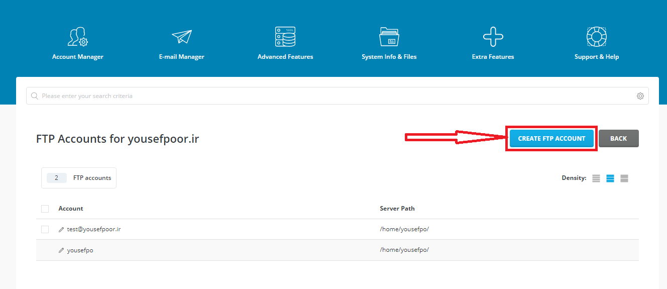 ایجاد کاربر FTP در directadmin و هاست لینوکس