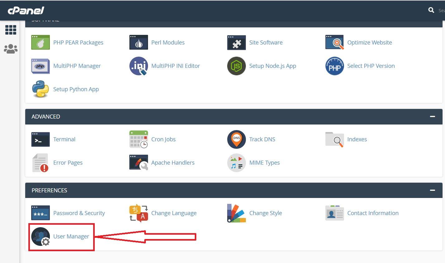 استفاده از User Manager در سی پنل هاست لینوکس