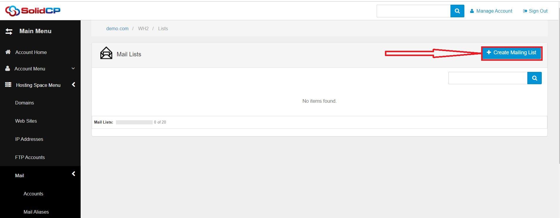 ایجاد mailing list در SolidCP هاست ویندوز