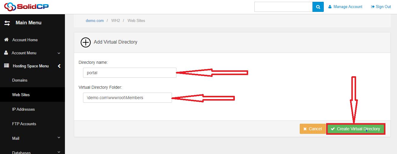 راهنمای ایجاد Virtual Directoryدر SolidCP