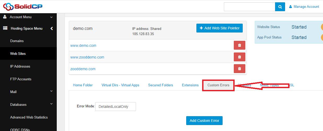 مدیریت Custom error pages در SolidCP