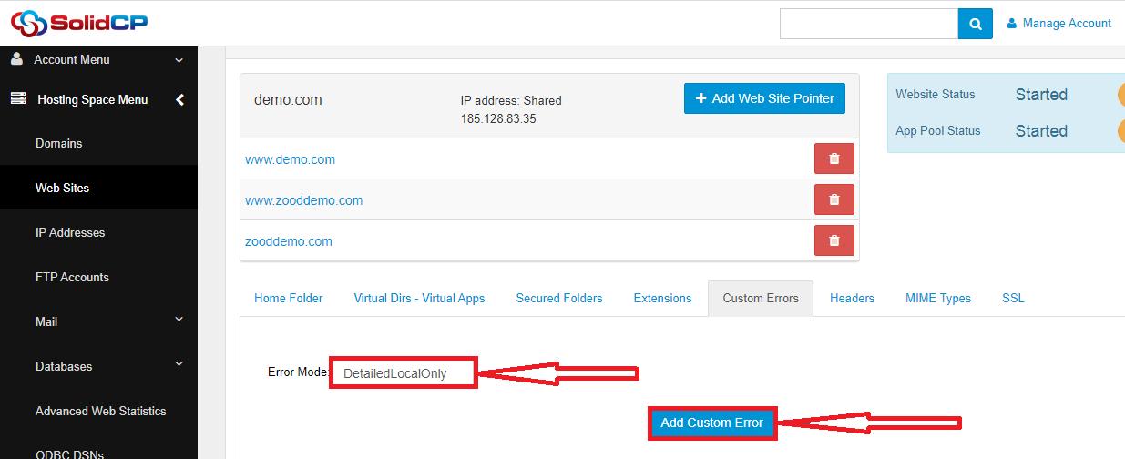صفحات خطا در SolidCP و هاست ویندوز