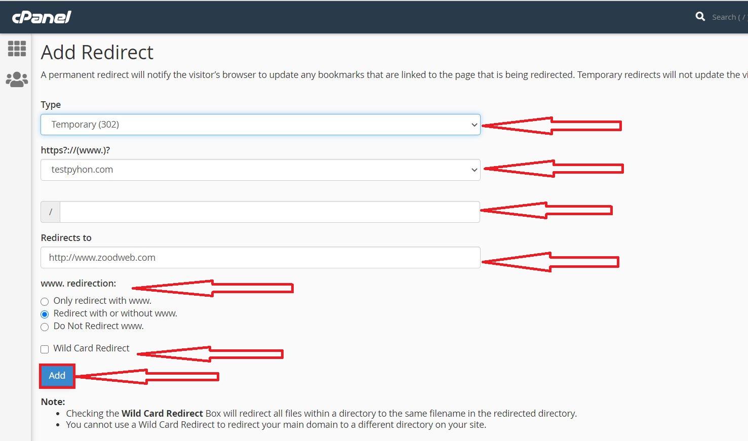 آموزش ایجاد ریدایرکت Redirect در سیپنل Cpanel هاست لینوکس