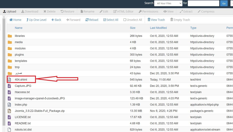 تنظیمات error pages در cPanel